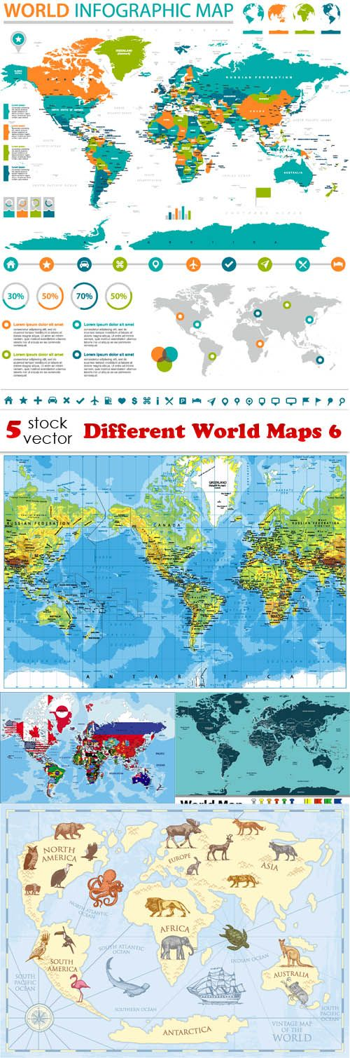 different world maps 6 vector technology different world maps 6 gumiabroncs Images