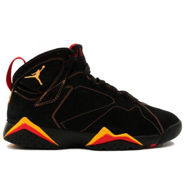 #Nike Air #Jordan 7 VII Retro-Black/ Citrus-Varsity Red .