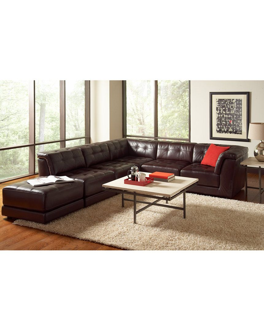 Stacey Leather 6-Piece Modular Sofa - Sectional Sofas - Furniture ...