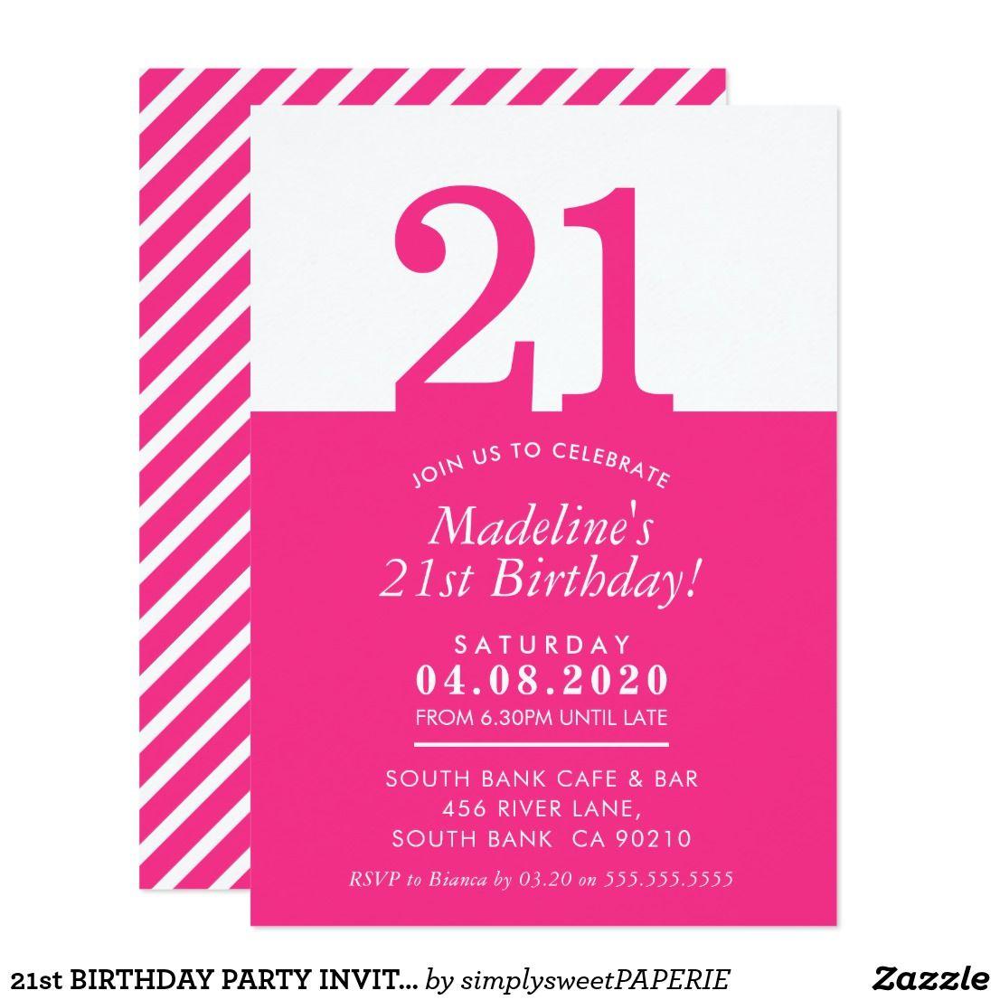 21st BIRTHDAY PARTY INVITE modern minimal pink | Birthday Bash ...