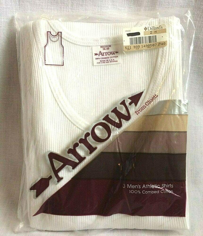 Vtg Arrow From Cluett 3 Men S Sleeveless Ribbed White Athletic