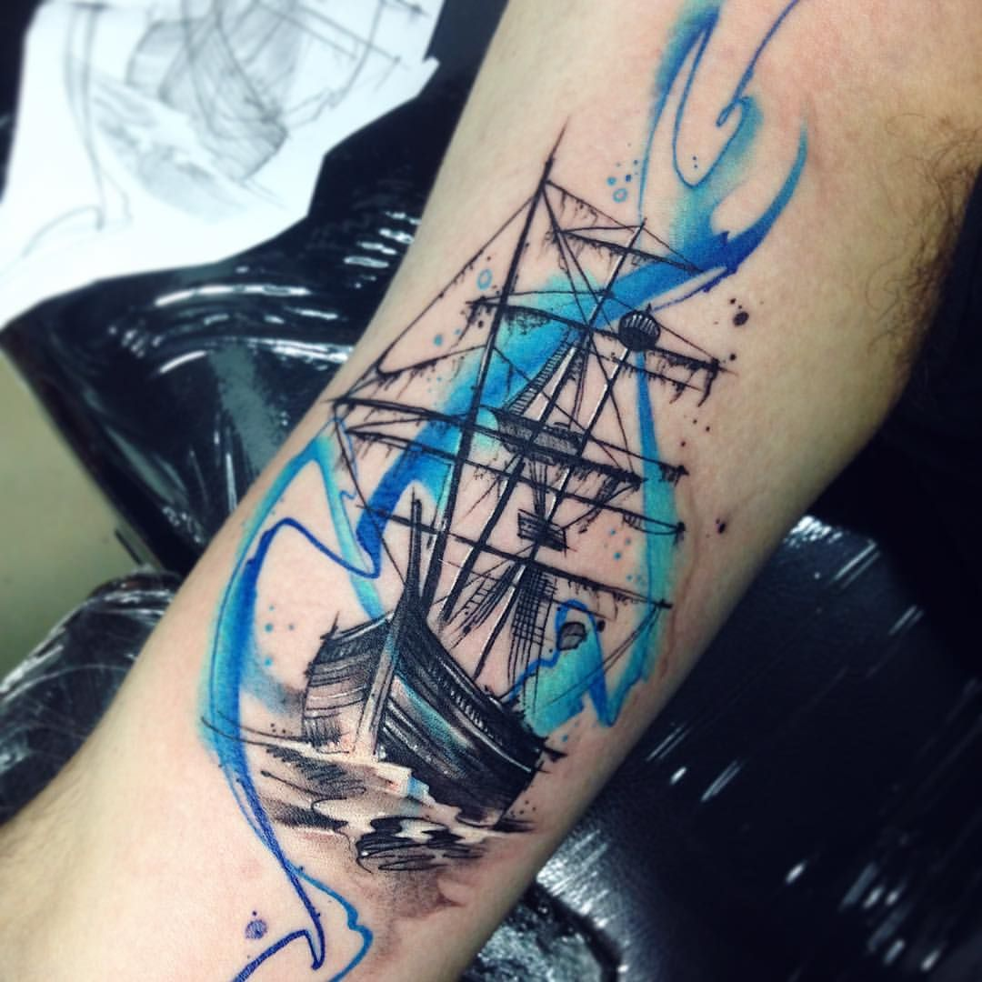 Pirat Ab Tattoo Tatuaje Pirateship Ship Aquarelle Watercolor