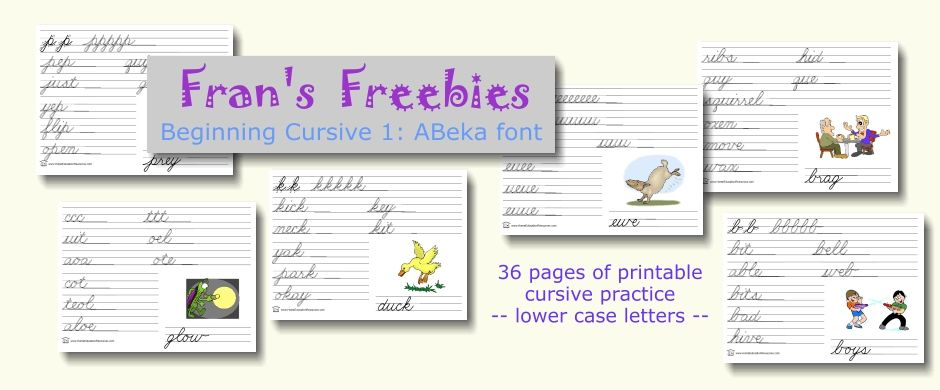 beginning cursive 1 abeka font free printables school pinterest cursive homeschool and. Black Bedroom Furniture Sets. Home Design Ideas