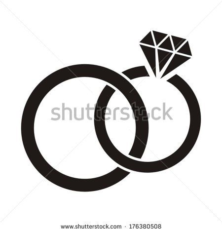 Wedding rings vector  Vector black wedding rings icon on white background by Alemon cz ...