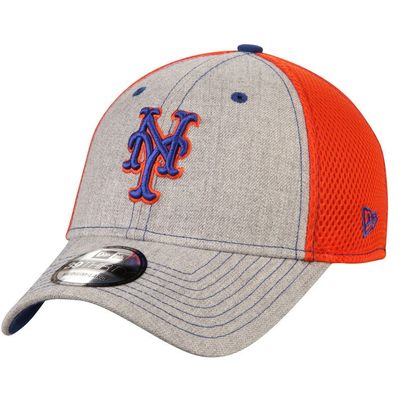 659b68d6377 New York Mets New Era Neo 2 39THIRTY Flex Hat - Heathered Gray Orange