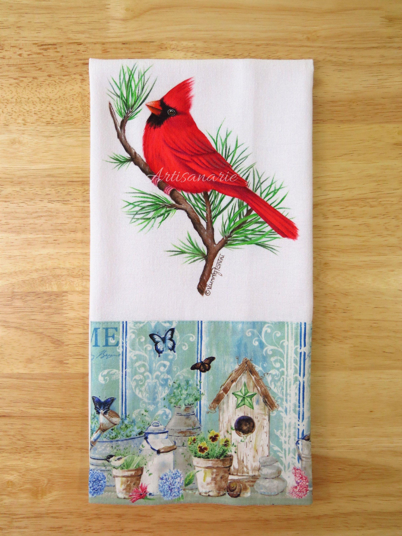 Northern Cardinal | Cardinal Kitchen Towel | Bird Kitchen Decor | Bird  Lovers Gift | Decorative