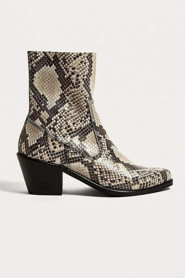 76a4dfde044b7e Urban Outfitters Bronco Snake Print Western Boots