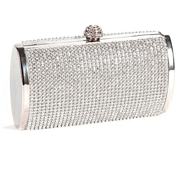 1b70a0bf3a Silver Crystal Diamante Effect Evening Clutch Wedding Purse Party Prom... ❤  liked on Polyvore featuring bags