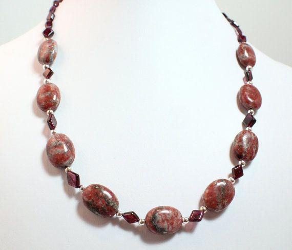 Garnet Necklace With Red Zebra Jasper
