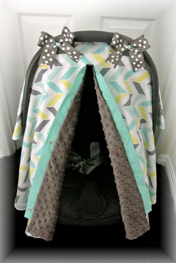 Car seat cover, car seat canopy, minky, chevron, teal, gray, polka
