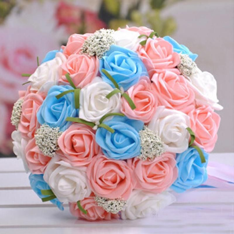 2017 High Quality Bridal Hand Bouquets Lovely Handmade Rose Flowers Light Red Pink Purple Blue White