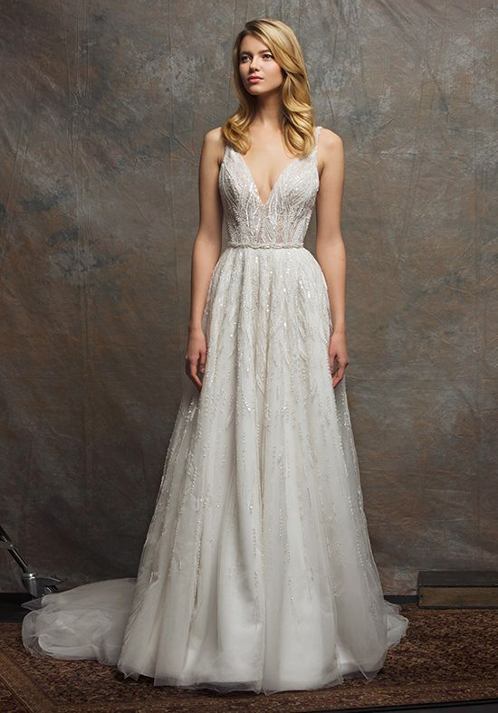 V-neck natural waist A-line gown with fully beaded white pearls ...
