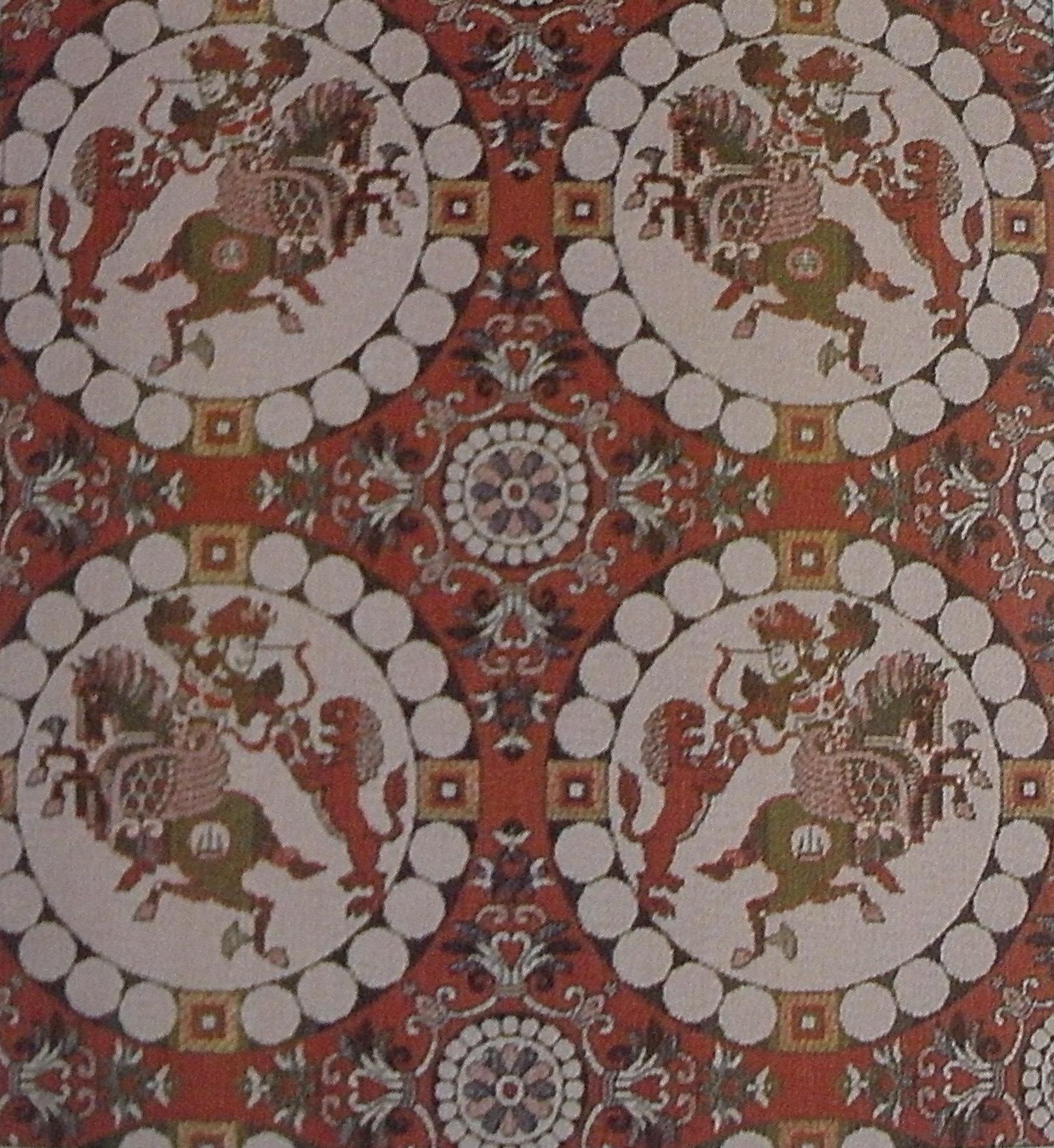 IT's not Oseberg silk, it's not even Persian silk! C6th–7thAD Silk twill textile, woven in Japan, imitating a Sasanian Persian original, from the Shoso-in Depository in Nara (established 754 AD).