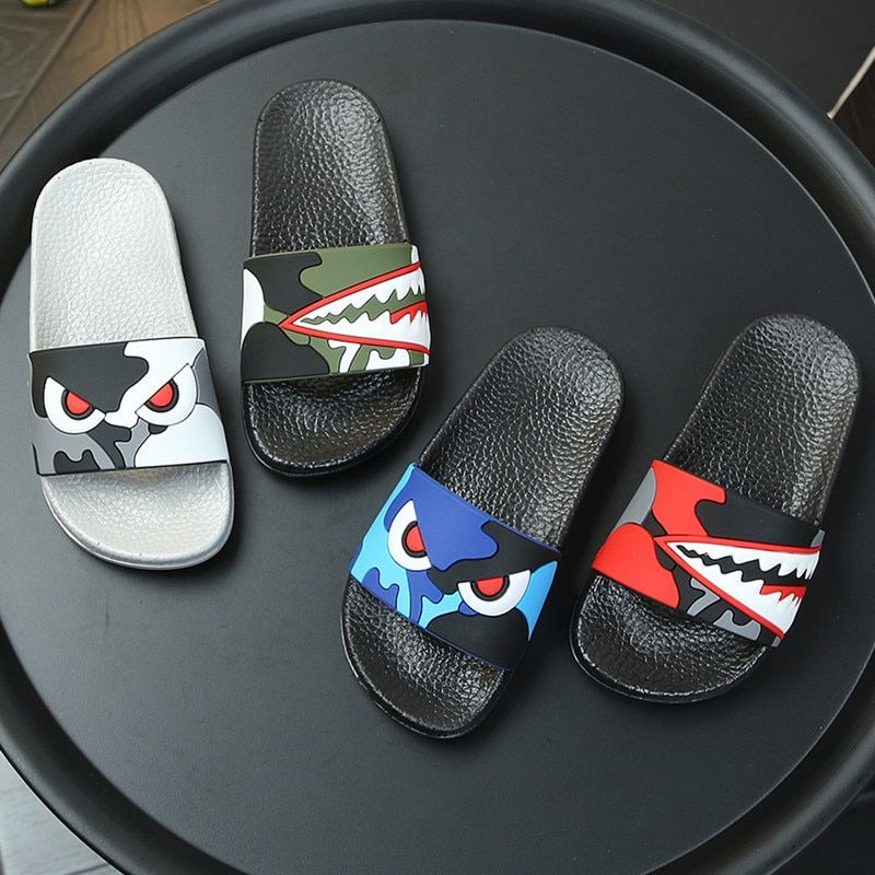 Kids Boys Captain America Slippers Sandals Thong Flip Flops Beach Shoes