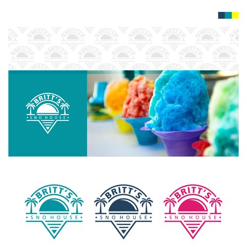 Britt S Sno House Design Unique And Fun Logo For Shaved Ice Stand We Are A New Orleans Style Shaved Ice Stand In Texas Ice Logo Shaved Ice Logo Design
