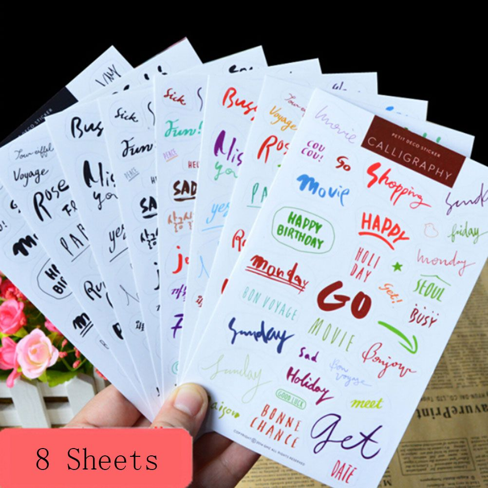 Word Memo Pads Scrapbooking DIY Stickers Diary Books PVC Crafts Decor