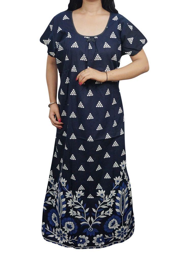dd8d193a0b Indiatrendzs Women Fancy Nighty Cotton Printed Blue Summer Maxi Night Wear  50