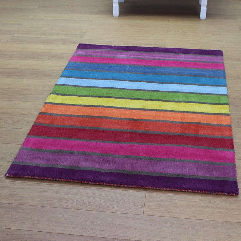 Rainbow Striped Multi Colour Rug