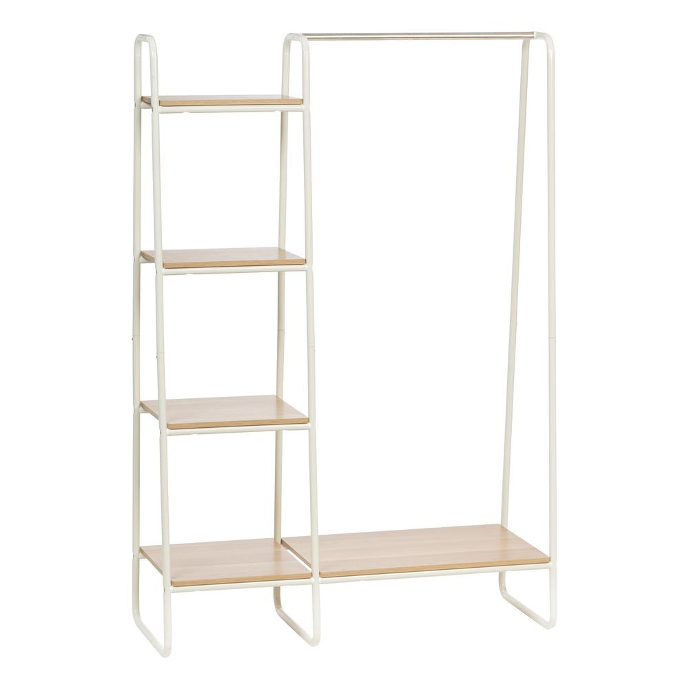 Iris White And Light Brown Metal Garment Rack With Wood Shelves 596241 In 2020 Wooden Clothes Rack Wood Shelves Garment Racks