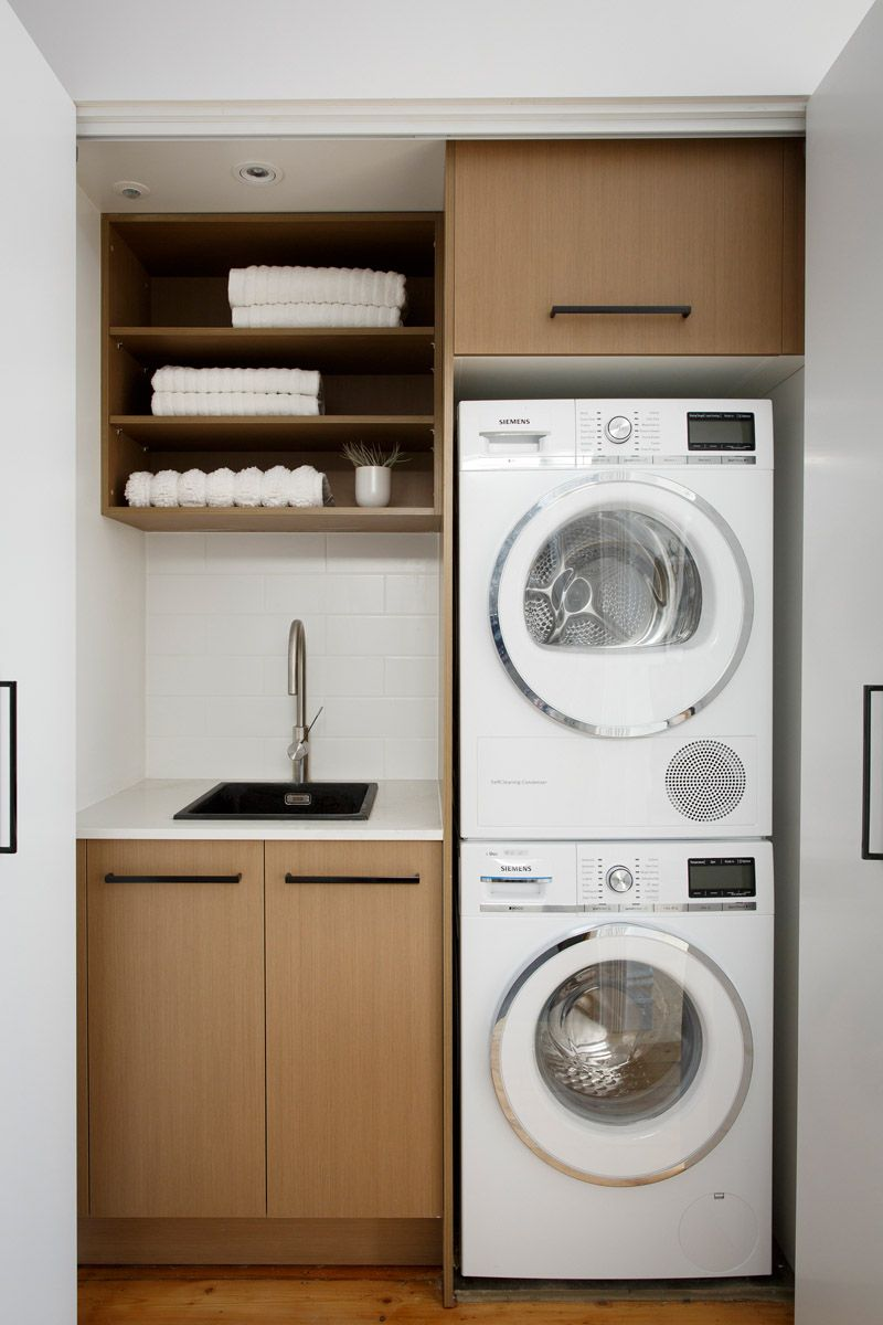 10 Ideas for Tiny Laundry Spaces   Laundry room ... on Small Space Small Bathroom Ideas With Washing Machine id=38241