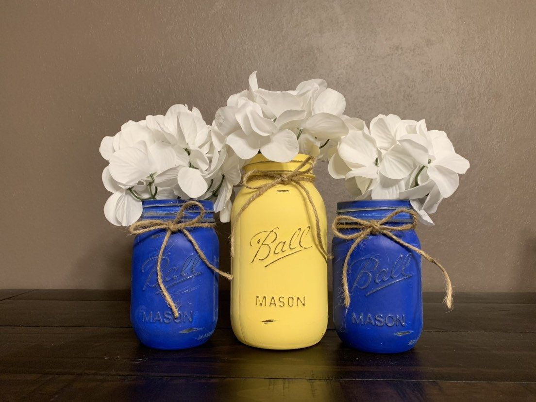 Set Of 3 Painted And Distressed Mason Jars Royal Blue Buttercup