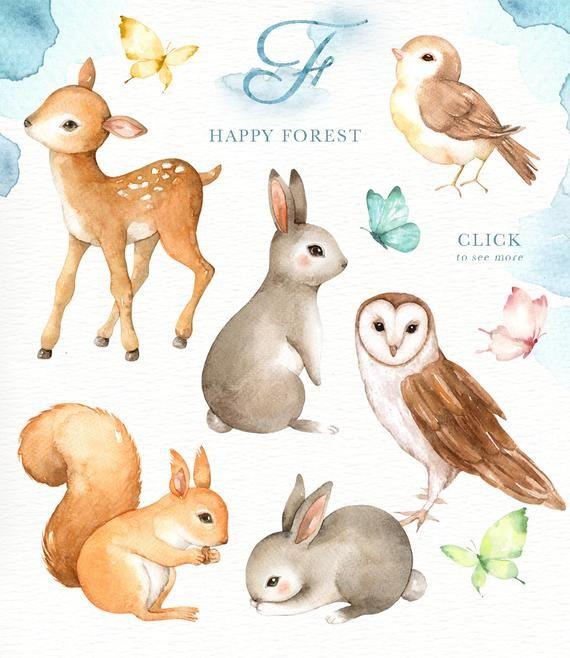 Clipart de niños bosque acuarela Clip Art, animales del bosque, feliz, Boho Clipart, decoración cuarto de niños, Animal con corona de flores, ardilla de conejo venado