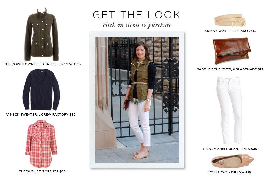 GET THE LOOK: weekend casual // jcrew jacket $148 // jcrew sweater $45 // topshop shirt $58 // asos skinny waist belt $10 // k.slademade foldover $72 // levi's skinny ankle jean $45 // me too flats $59