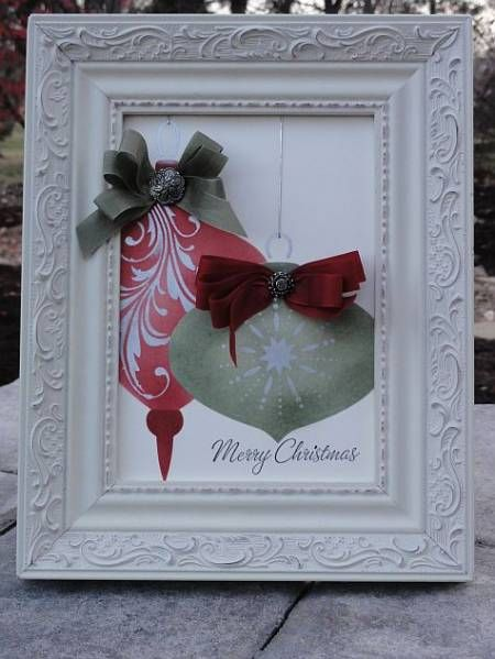 Great Idea To Embellish An Old Christmas Card Frame It For A Quick Decoration Christmas Card Crafts Christmas Frames Christmas Diy