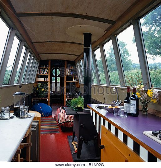 Modern narrowboat interior, England UK - Stock Image | House Boats ...