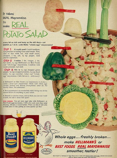 1954 food ad hellmanns best foods mayonnaise with potato salad 1954 food ad hellmanns best foods mayonnaise with potato salad recipe forumfinder Gallery