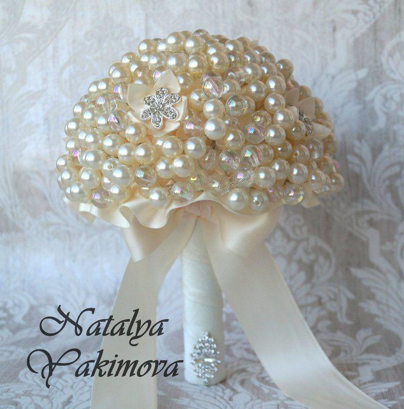 Brooch Bouquet, Vintage Bouquet, Rustic Bouquet, Fabric Bouquet, Unique Wedding Bridal Bouquet, bouquet from beads, ivoru