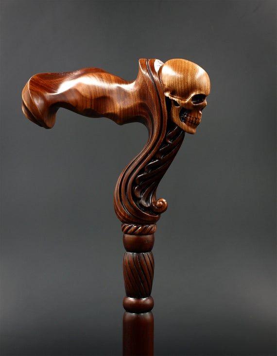 Skull Cane Wooden Walking Stick -Ergonomic Palm Grip Handle Wood Carved Walking cane with skull head for men women Unique designer Art Goth #woodcarvingtoo