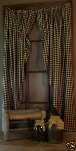 "Country 54"" Long Black Homespun Check Fishtail Curtain | eBay"