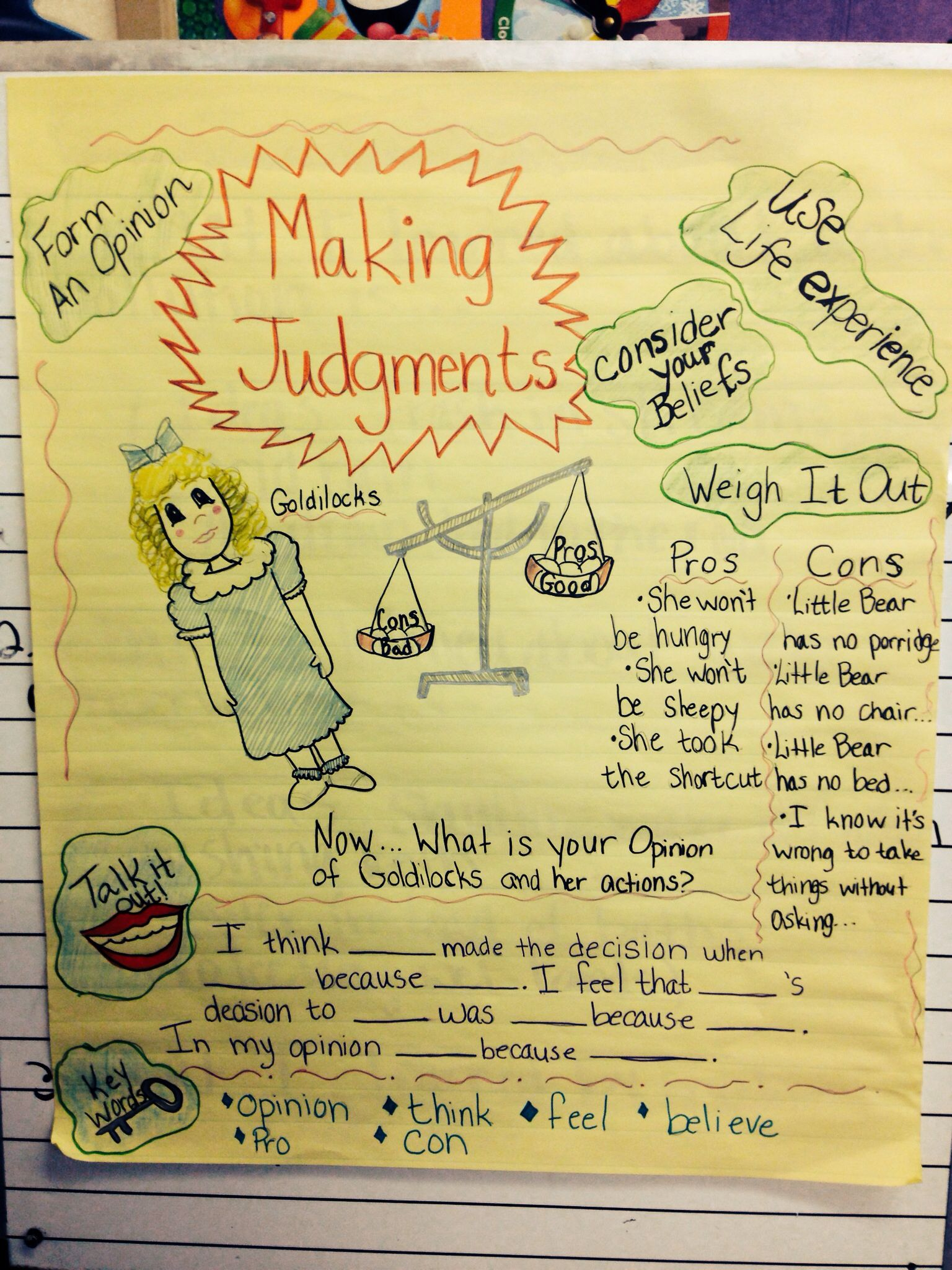 Anchor Chart For Making Judgements It Lead To Great