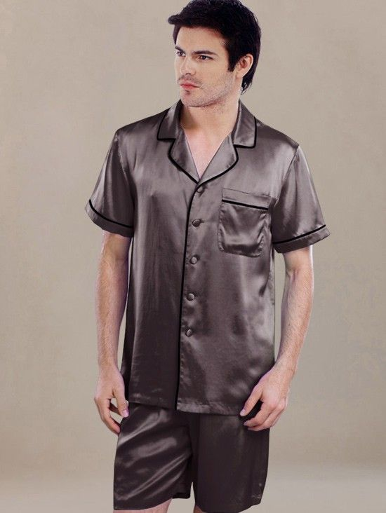 Stylish Men Short Silk Pajamas Sets SW67CHClassic men s 100% silk pajama set  is durable and comfortable for your night use. 05ba8833e