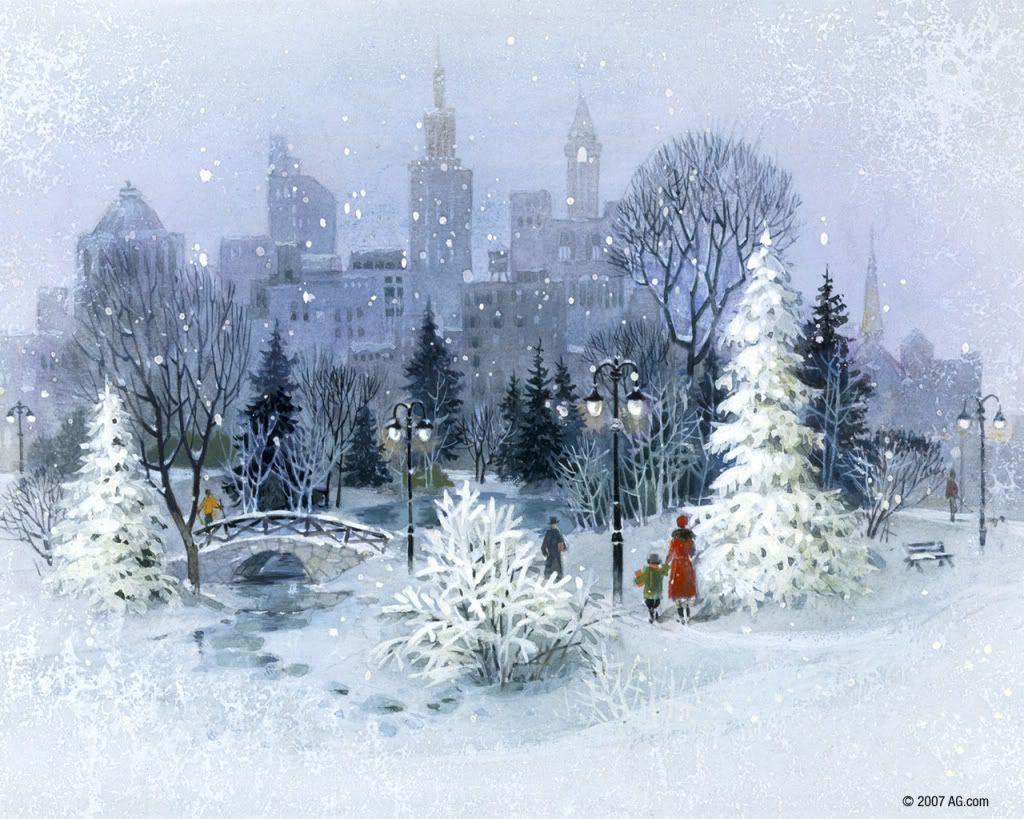 Christmas In The City Christmas In The City Wallpaper Beautiful Winter Scenes Christmas Scenes Christmas Art