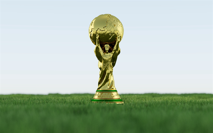 Download Wallpapers Fifa World Cup 4k Close Up Golden Cup Russi 2018 Fifa World Cup 2018 Fifa World Cup