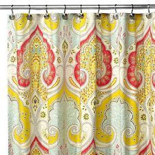 ECHO DESIGN JAIPUR SHOWER CURTAIN COTTON GREEN YELLOW RED PAISLEY
