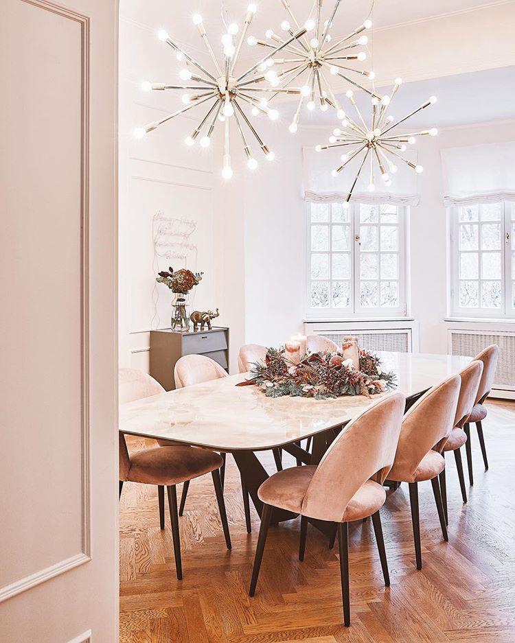 Pink Chairs Marble Dining Table Dining Room Dining Room Table