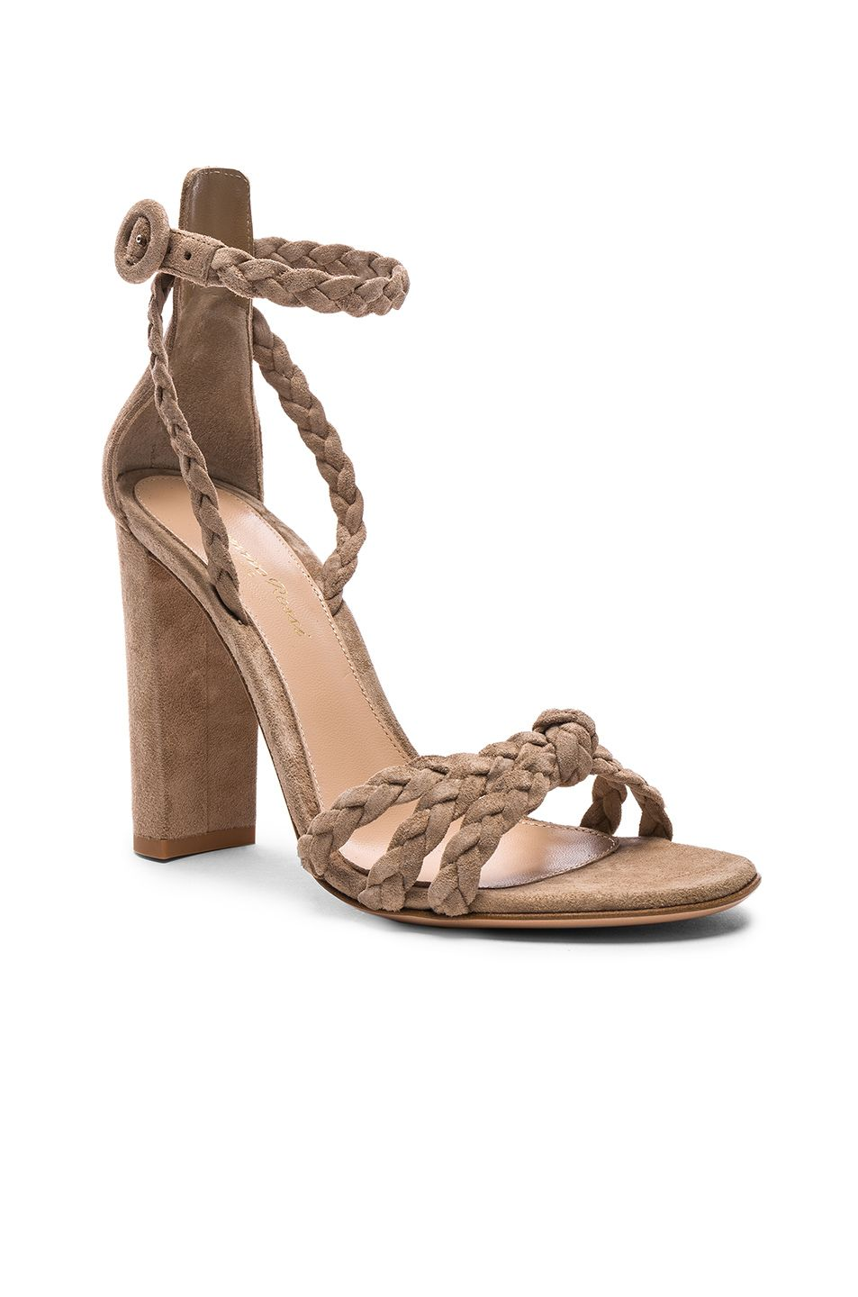 Gianvito Rossi For FWRD Suede Liya Braided Strap Heels in Neutrals.