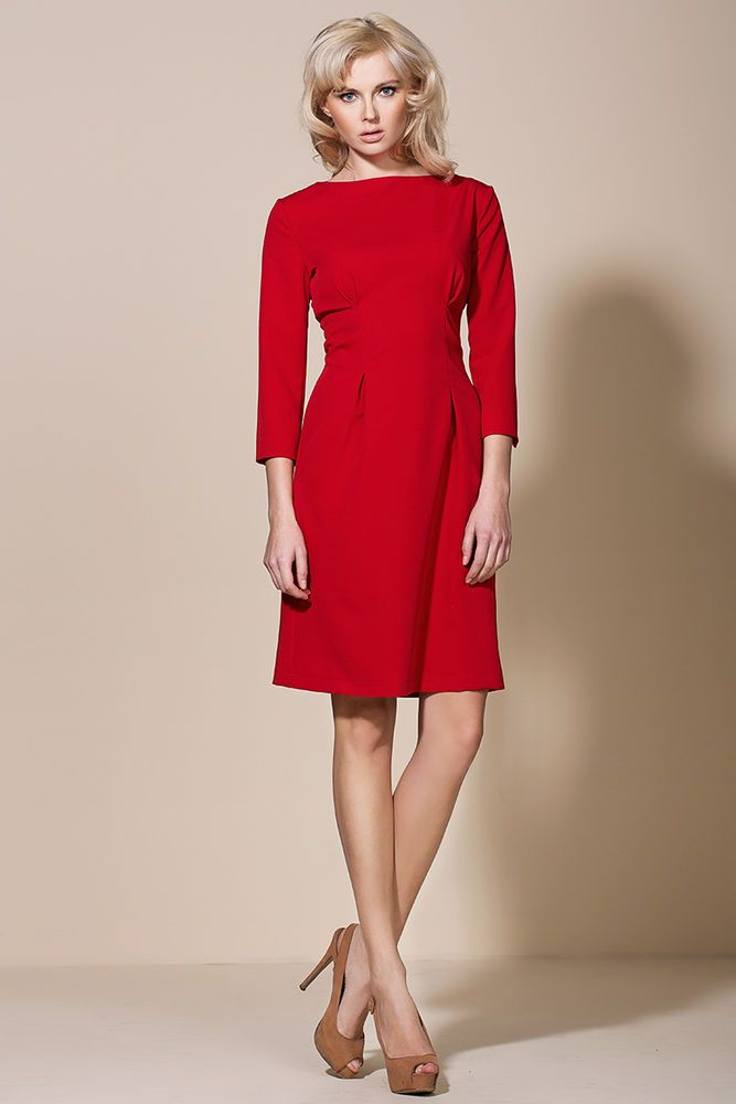 Robe rouge manche 3 4