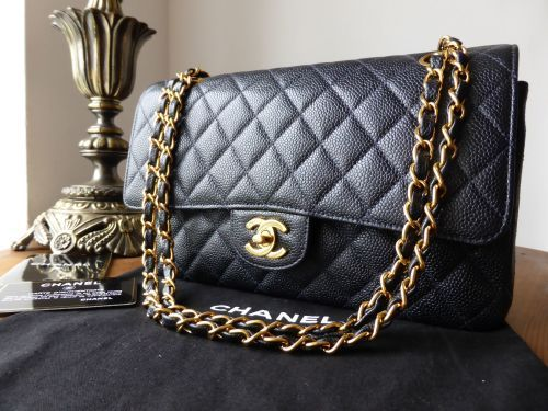 d1438b3fa454 Chanel Classic 2.55 Medium Flap in Navy Blue Caviar with Gold Hardware >  https: