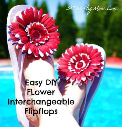 7eedad6dcb8d5a Easy to make DIY Interchangeable Flower Flip Flops