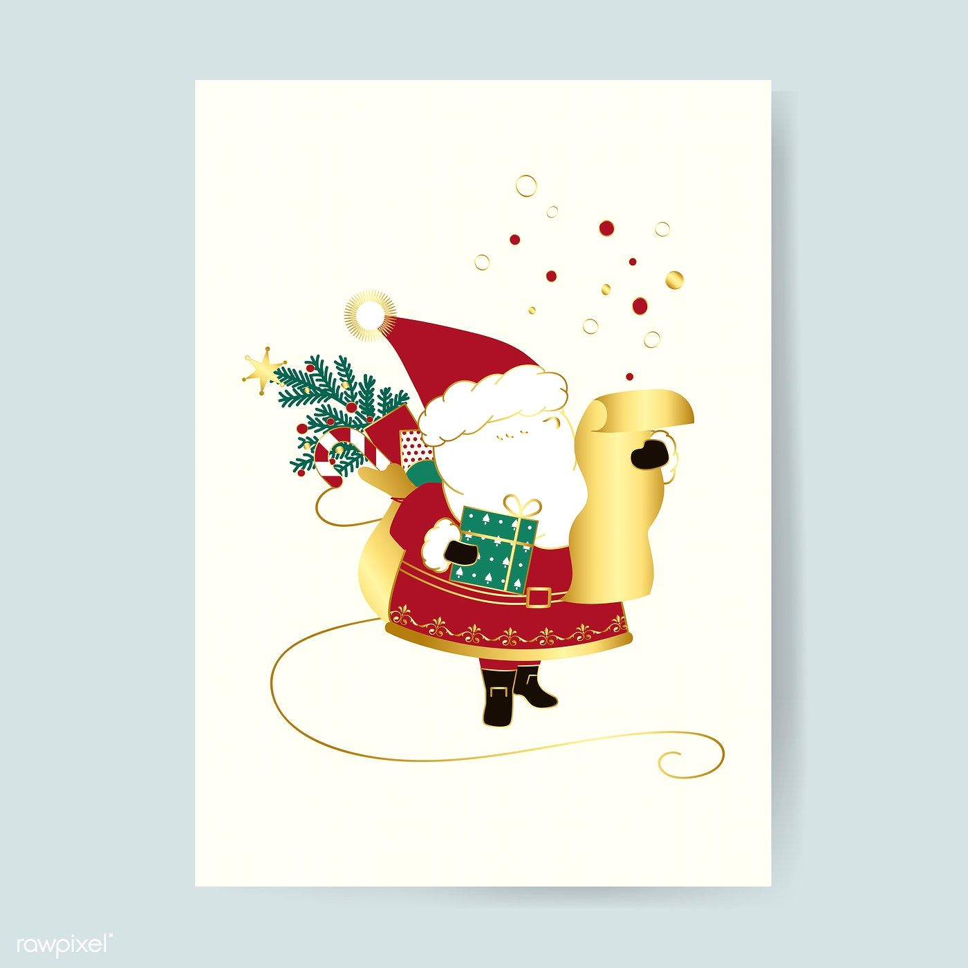 Santa Claus Christmas Card Vector Free Image By Rawpixel Com