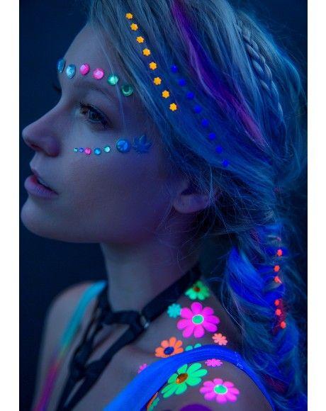 Daisy Blacklight Body Stickers Pinterest Neón, Maquillaje y