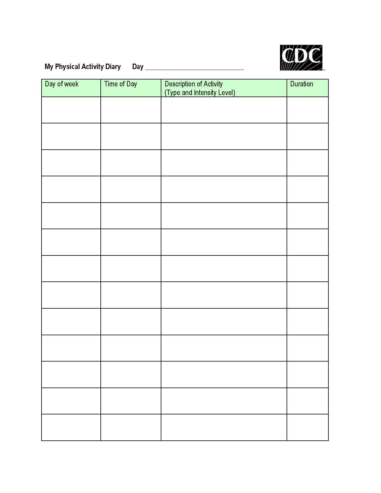 Printable Physical Activity Tracker Worksheet