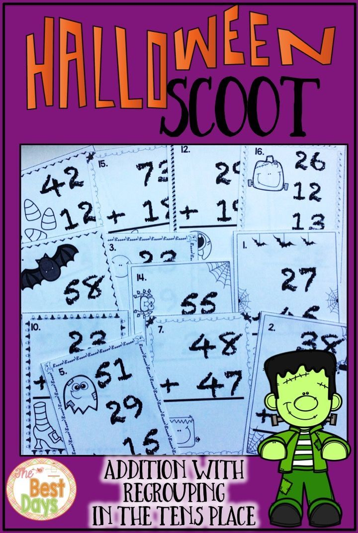 Regrouping Addition in the Tens Place Scoot Math Game: Halloween ...