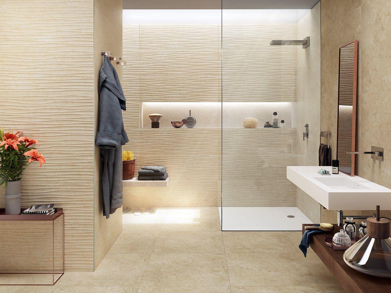 Rivestimento bagno effetto marmo vendome marfil rettificato