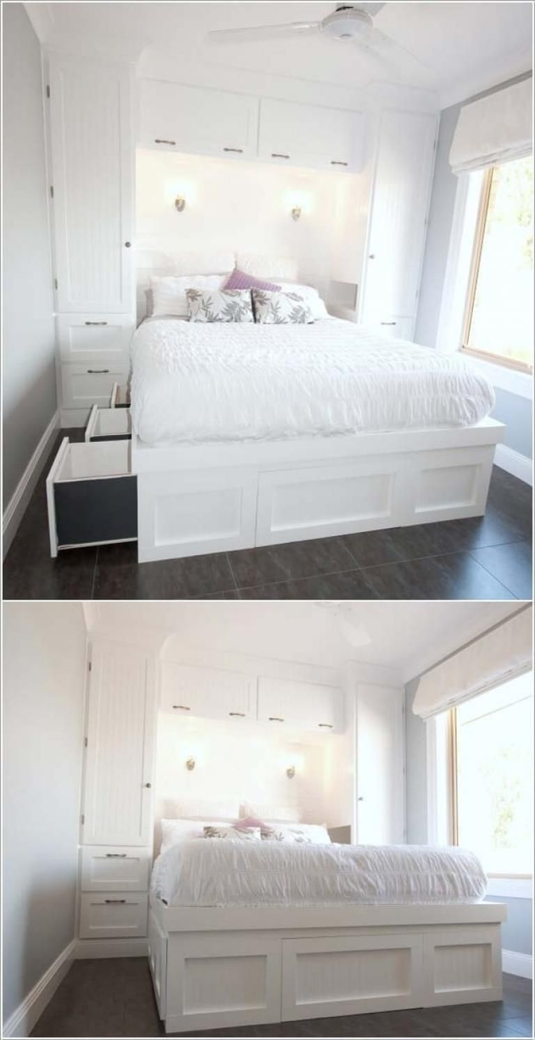 30 Awesome Small Space Ideas To Maximize Your Tiny Bedroom Small Room Design Small Space Storage Bedroom Small Room Bedroom