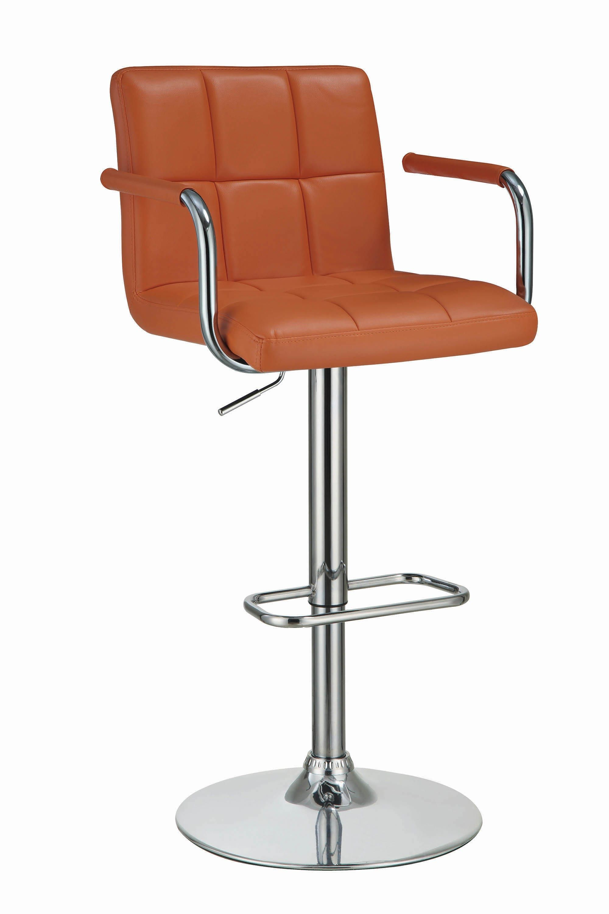 Contemporary Pumpkin and Chrome Adjustable Bar Stool with